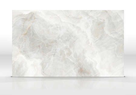 Ivory Onyx marble tile standing on the white background with reflections and shadows. Texture for design. 2D illustration. Natural beauty