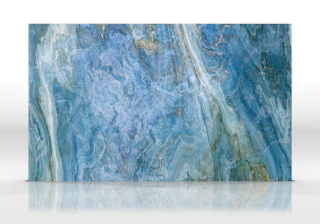 Blue Onyx marble tile standing on the white background with reflections and shadows. Texture for design. 2D illustration. Natural beauty