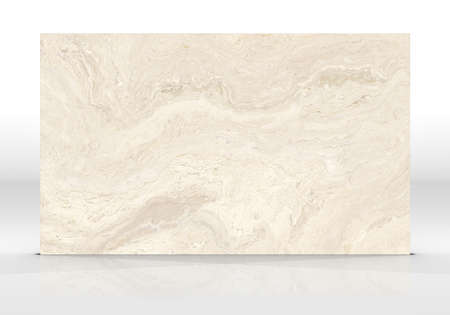 Beige Onyx marble tile standing on the white background with reflections and shadows. Texture for design. 2D illustration. Natural beauty