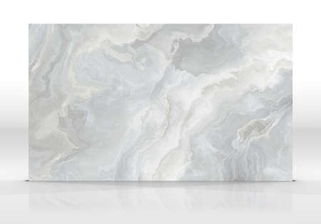 Grey marble tile standing on the white background with reflections and shadows. Texture for design. 2D illustration. Natural beauty