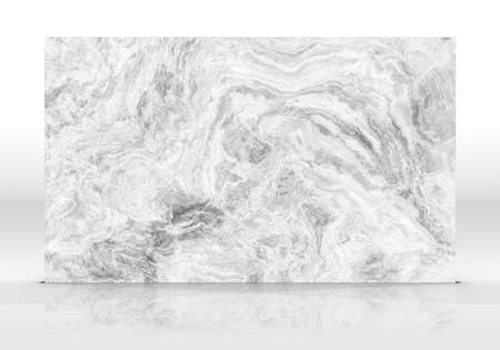 White Onyx marble tile standing on the white background with reflections and shadows. Texture for design. 2D illustration. Natural beauty