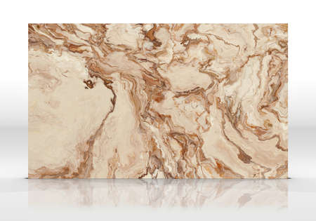 Capuchinno marble tile standing on the white background with reflections and shadows. Texture for design. 2D illustration. Natural beauty Stock fotó