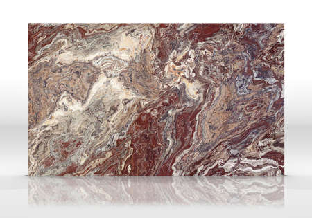 Red travertine marble tile standing on the white background with reflections and shadows. Texture for design. 2D illustration. Natural beauty