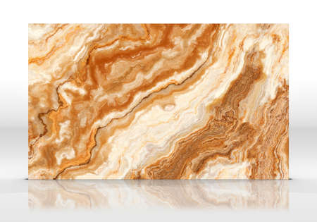 Orange Onyx marble tile standing on the white background with reflections and shadows. Texture for design. 2D illustration. Natural beauty