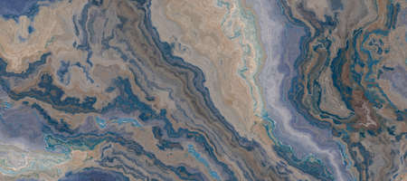 Blue and beige marble pattern. Abstract texture and background. 2d illustration Stock fotó