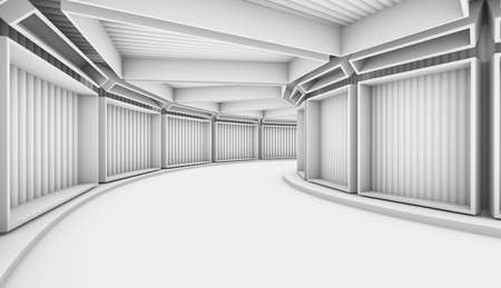 3D background. White Abstract Tunnel with blue rectangle windows. 3d Render illustration