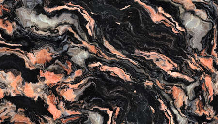 Black marble pattern with curly grey and orange veins. Abstract texture and background. 2D illustration
