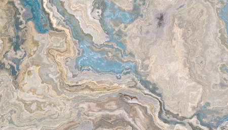 Beige marble pattern with blue inclusions. Abstract texture and background. Soft colored 2D illustration Stock Photo
