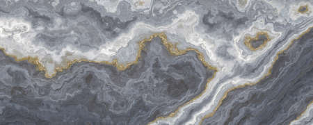 Gray-white marble pattern, separated by a golden veins. Abstract texture and background. 2D illustration