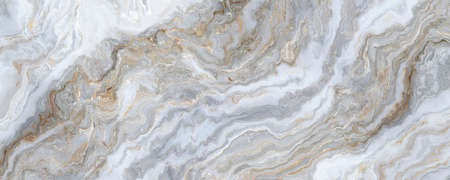 White marble pattern with curly grey and gold veins. Abstract texture and background. 2D illustration Stock fotó