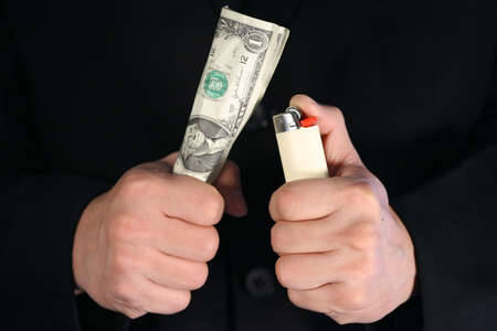 Burning away or throw away money Stock Photo - 326325
