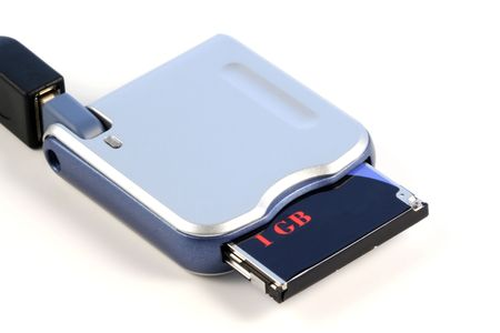 Memory card reader, isolated photo