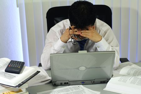 hardworker: A stressed out businessman Stock Photo