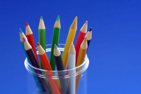 Bunch of pencil colors in a pencil holder Stok Fotoğraf