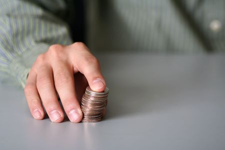 Stacking up quarters, to be used for financial concept Stok Fotoğraf