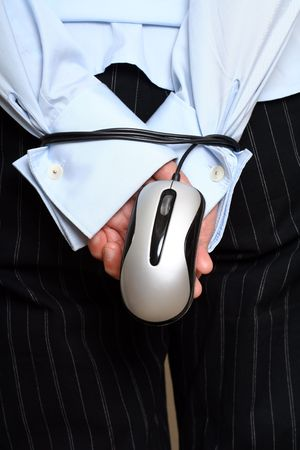 Businesswoman hands tied up with mouse photo