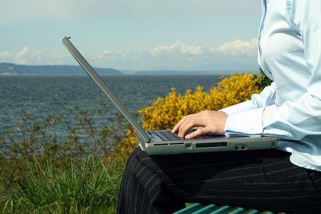 Businesswoman working outdoor