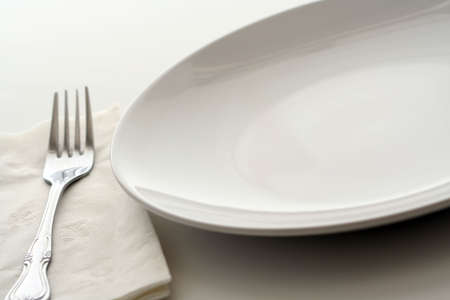 cater: White dining plate Stock Photo