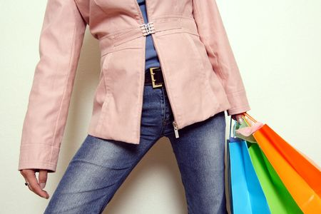 A woman carrying shopping bags photo