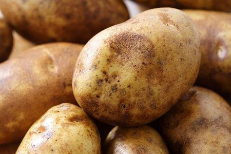 russet potato: A close up of potatoes