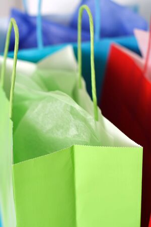 gift bag: Three colorful shopping bags