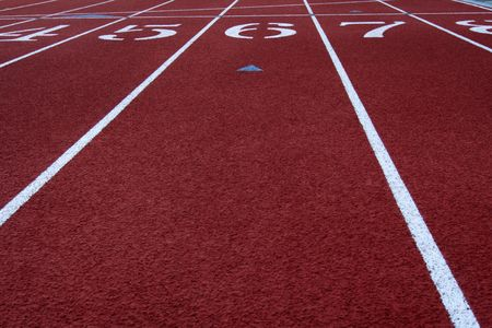to the line: The finish line in a running track