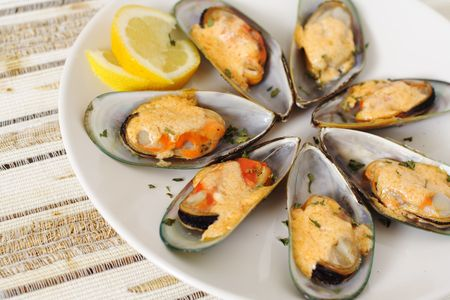 Baked mussels 免版税图像 - 491680