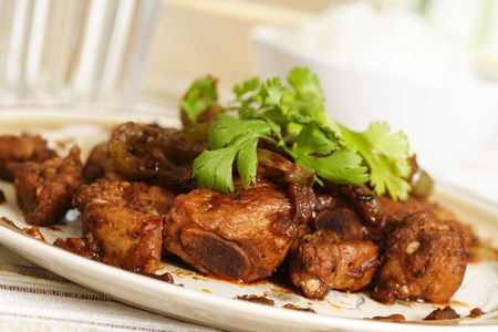 Pork spare ribs cooked in black bean sauce and green pepper Stock Photo