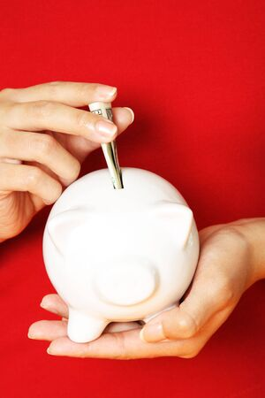 consolidate: A woman depositing money into a piggy bank Stock Photo