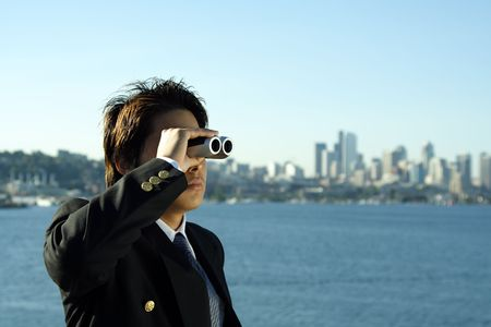 see  visionary: Businessman looking through binoculars, can be used for visionprospects metaphor