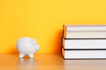A piggy bank and a stack of books, can be used for saving for college design