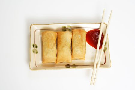 Crispy egg rolls on a plate Stock Photo - 527092