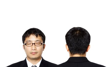 Two businessmen, showing front and back side photo