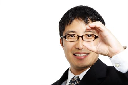 foresee: Businessman with a hand formed like a binocular, suitable for business vision concept
