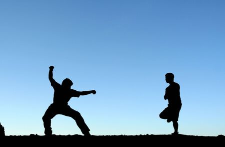 martial art: Two men practicing martial arts, in silhouette