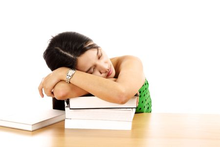 A tired young woman taking a nap Stock Photo - 555890