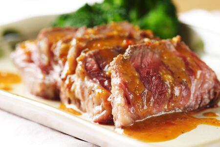 peanut sauce: Slices of tender beef served with peanut sauce