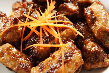 Pork spare ribs with sweet chili sauce photo
