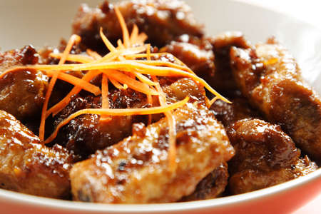 chinese spinach: Pork spare ribs with sweet chili sauce