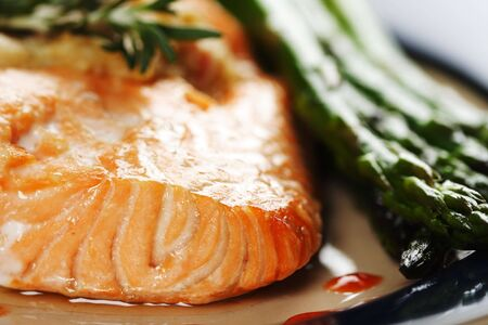 Baked salmon with asparagus on the side Stock Photo - 629429