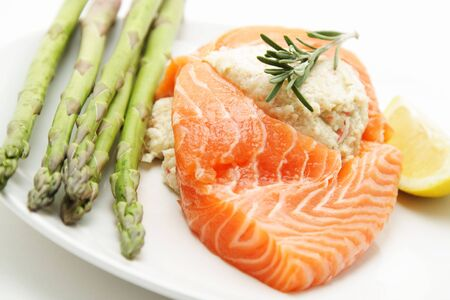 Stuffed salmon with asparagus on the side Stock Photo - 632126