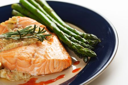 Stuffed salmon with asparagus on the side Stock Photo - 638714