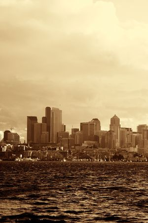 Seattle waterfront downtown buildings (in yellow sepia color) photo