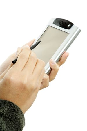 stylus: A businesswoman holding a PDA and a stylus