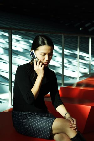 A businesswoman talking on a cell phone photo