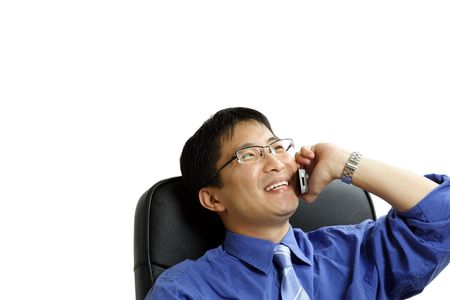 businessman talking: A shot of businessman talking on the phone (isolated) Stock Photo