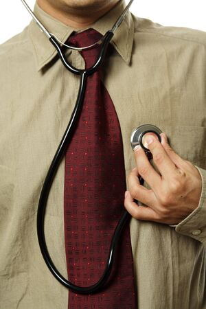 heartrate: A doctor holding a stethoscope, can be used in healthcare concept