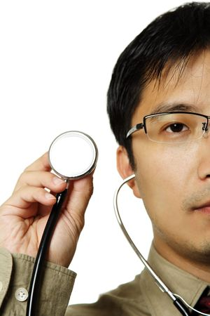 A male doctor holding a stethoscope, can be used as healthcare concept photo