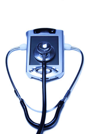 schedulers: A stethoscope and a PDA in a blue tone Stock Photo