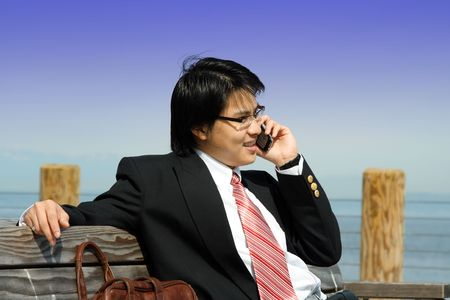A businessman talking on the phone outdoor